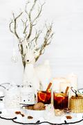 christmas composition with mulled wine - stock photo