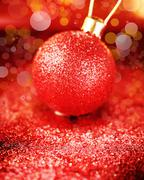 christmas bright decoration in red colors - stock photo
