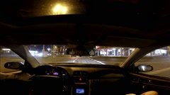Night drive inner city wide angle view dash cam Stock Footage