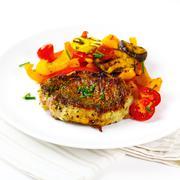 Roasted meat steak with veggies Stock Photos