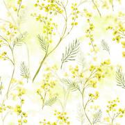 Seamless Pattern with Watercolor Sprig of Mimosa - stock illustration