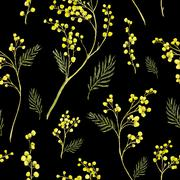 Stock Illustration of Seamless Pattern with Watercolor Sprig of Mimosa