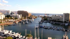 Resort hotels and cityscape of Eilat Stock Footage