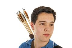 boy archer in close up - stock photo