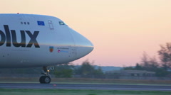 Boeing 747 airfreighter taxiing to the runway. Stock Footage