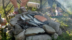 Barbeque fresh fish on camping Stock Footage