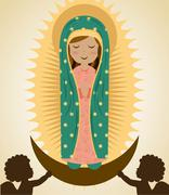 Stock Illustration of holy mary design over beige background, vector illustration