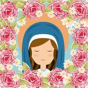 holy mary design over floral background, vector illustration - stock illustration