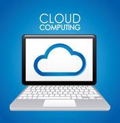 Stock Illustration of technology design over blue background, vector illustration