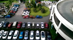 Parking lot outside a shopping mall in Chengdu, China Stock Footage