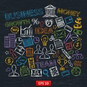 Doodle business icons set on chalk board Stock Illustration
