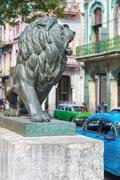 Bronze lion at paseo del prado in old havana Stock Photos