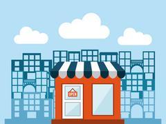building design over blue background, vector illustration - stock illustration