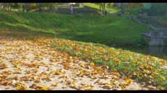Autumn day in a park near Cesis castle , Latvia Stock Footage