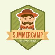 summer camp design over beige backgroun, vector illustration - stock illustration