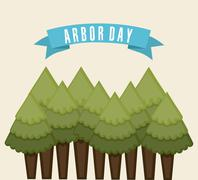 arbor day over  white background vector illustration - stock illustration