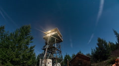 Lookout Tower Night Time Lapse Stock Footage