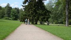 Woman walk on footpath under huge fir in summer park Stock Footage