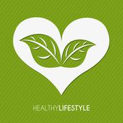 healthy lifestyle over green background vector illustration - stock illustration