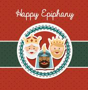 Happy ephipany over dotted background vector illustration Stock Illustration