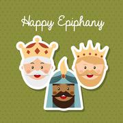Happy ephipany over green background vector illustration Stock Illustration