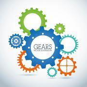 gears design over gray  background vector illustration - stock illustration