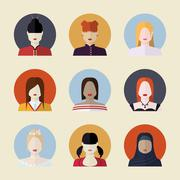 Vector set  of women avatars  different nationalities in flat st Stock Illustration