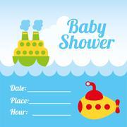 Stock Illustration of baby shower design over sky background vector illustration
