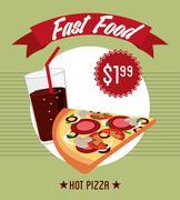 Fast food design over green background vector illustration Stock Illustration