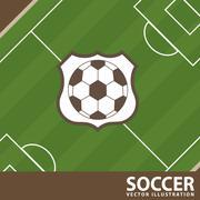soccer design over field  background  vector illustration - stock illustration