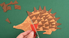 To craft hedgehog of paper Stock Footage
