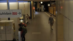 Yellow train on tube station in Berlin Stock Footage