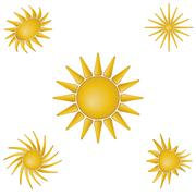 bright symbolic vector sun collection - stock illustration