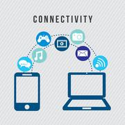 Connectivity icons over gray background vector illustration Piirros