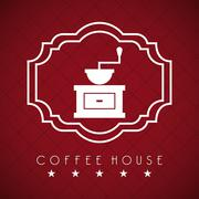 Stock Illustration of coffee house over red  wine background vector illustration