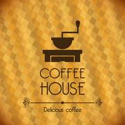 Stock Illustration of coffee house over bronze background vector illustration