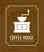Stock Illustration of coffee house over brown background vector illustration