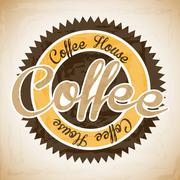 Coffee house label over vintage background vector illustration Stock Illustration