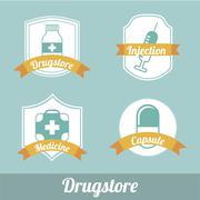 Drug store labels over blue background vector illustration Stock Illustration