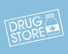 Drug store over blue background vector illustration Stock Illustration
