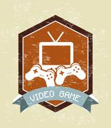 video game design over vintage background vector illustration - stock illustration