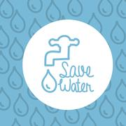 Save water over blue background vector illustration Stock Illustration