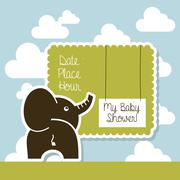 my baby shower card over sky background vector illustration - stock illustration