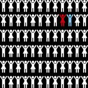 Stock Illustration of people silhouette over black background vector illustration