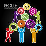 people teamwork over black background vector illustration - stock illustration