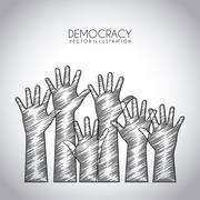 democracy design over gray background vector illustration - stock illustration