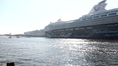 Big cruise ship in Amsterdam Ij Stock Footage