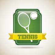 tennis frame over vintage background vector illustration - stock illustration
