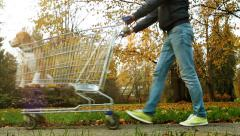 Foolishly scene in city park: one man carries dog in trolley from supermarket Stock Footage