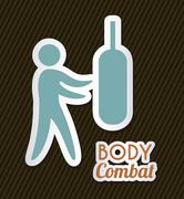 body combat over black background. vector illustration - stock illustration